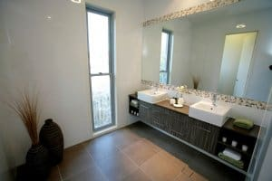 custom home builders Orange Display home Woodsong bathroom