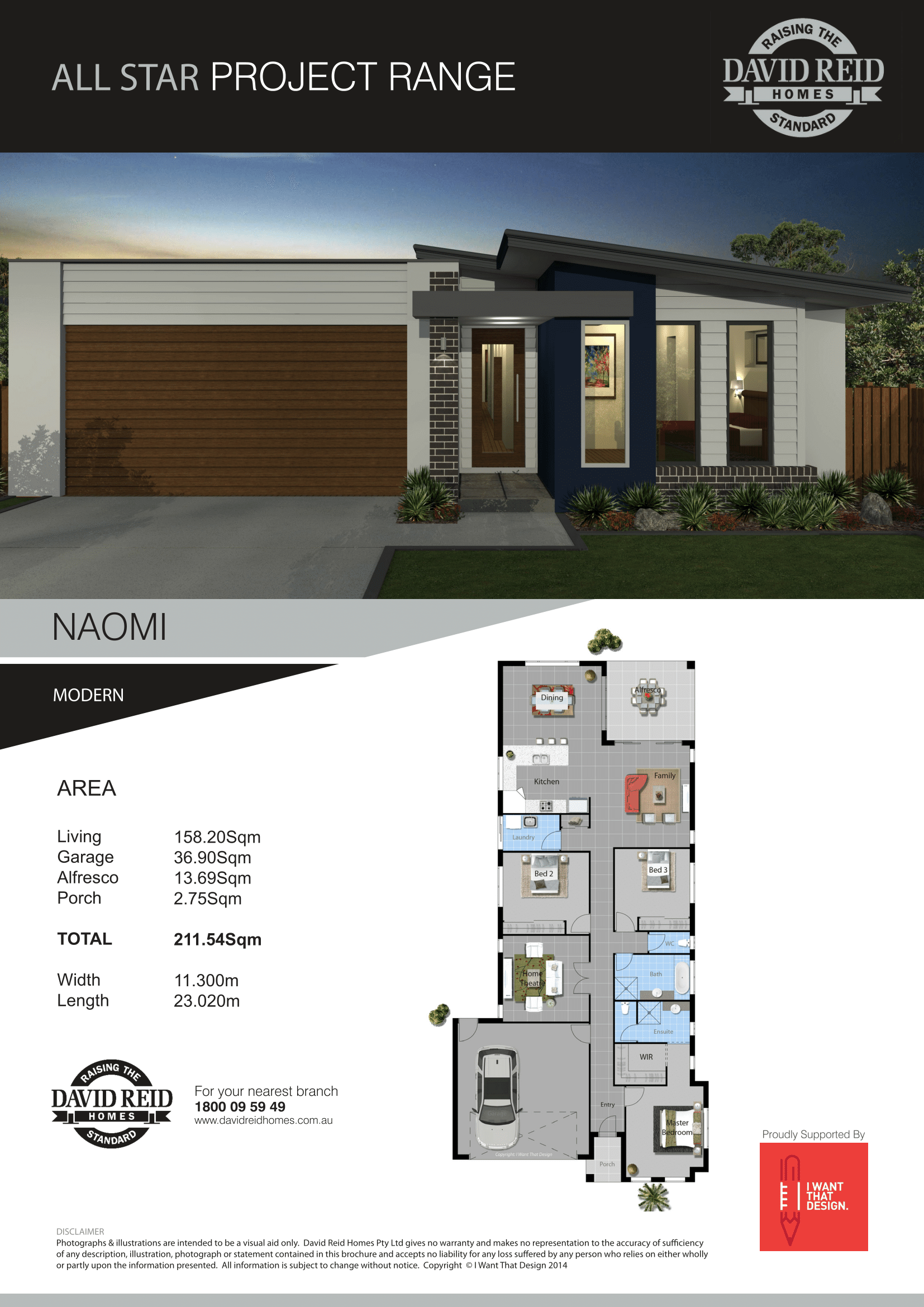 David Reid Homes nverell House and Land package Naomi Modern house specification